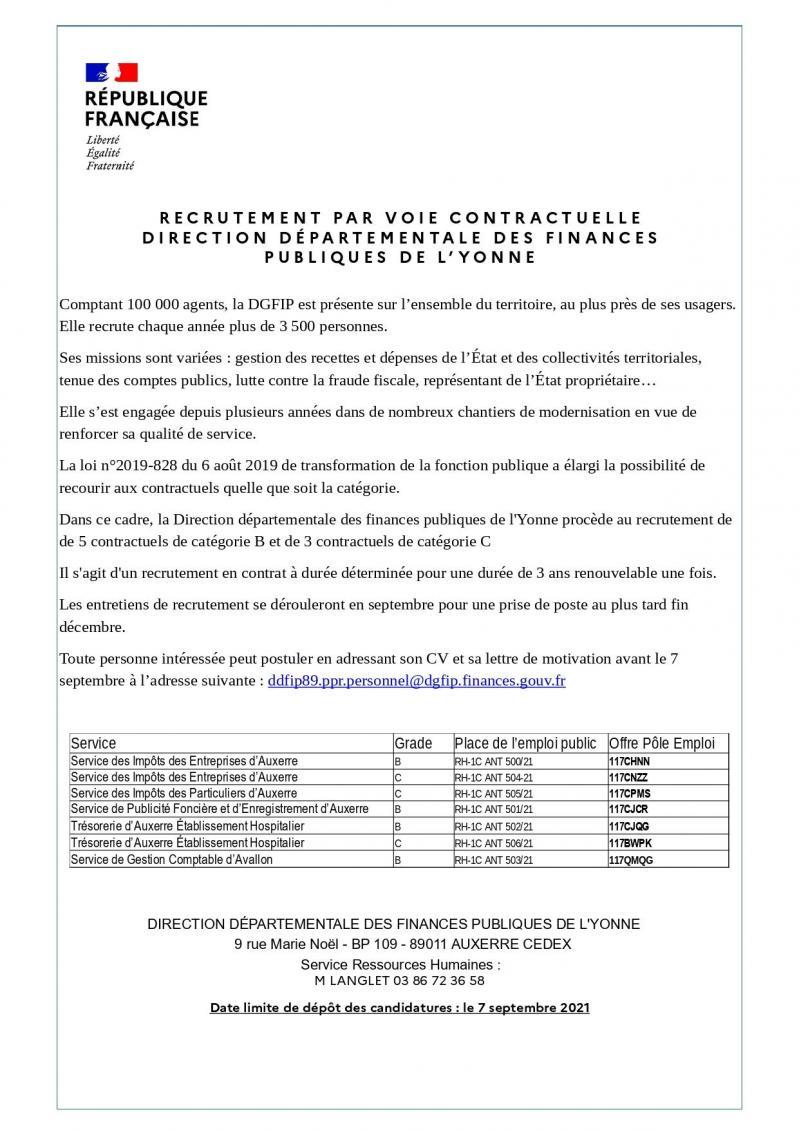 Annonce du recrutement ddfip89 page 0001