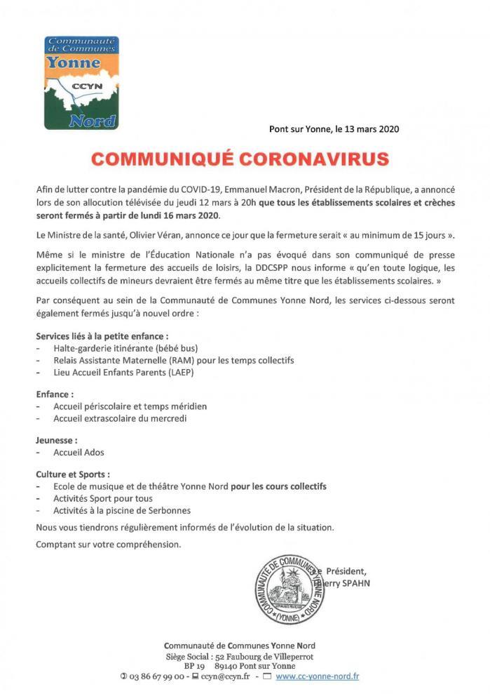 Communique coronavirus 13032020