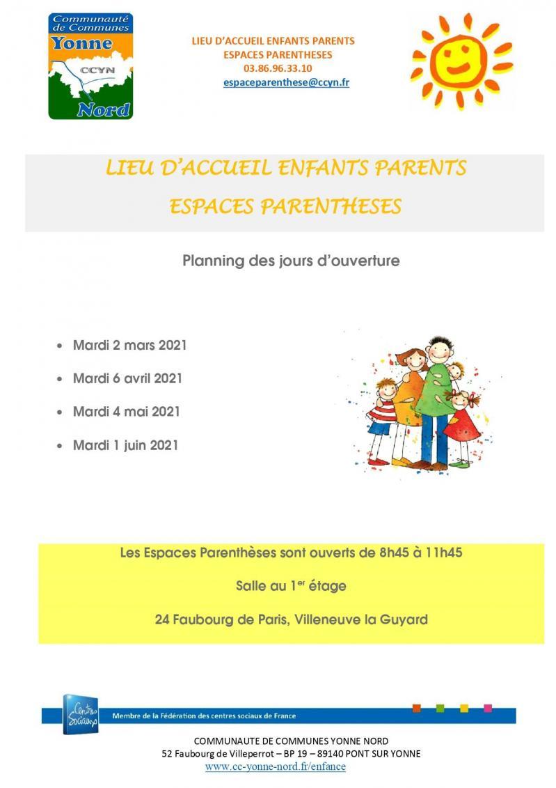 Planning d accueil enfants parents reouverture 2021